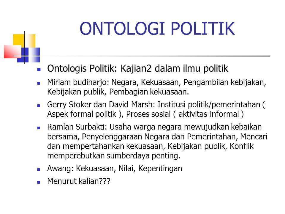 ONTOLOGI POLITIK Ontologis Politik: Kajian2 dalam ilmu politik