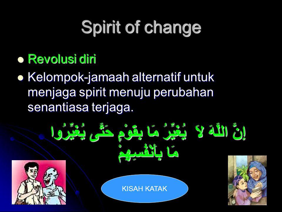Spirit of change Revolusi diri. Kelompok-jamaah alternatif untuk menjaga spirit menuju perubahan senantiasa terjaga.