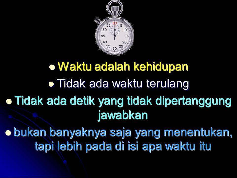 Waktu adalah kehidupan Tidak ada waktu terulang