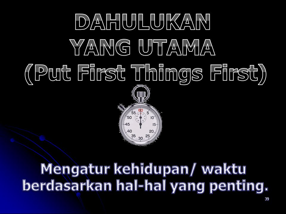 DAHULUKAN YANG UTAMA (Put First Things First)