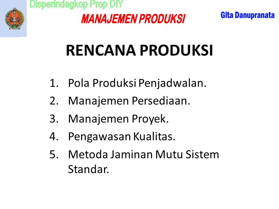 RENCANA PRODUKSI Pola Produksi Penjadwalan. Manajemen Persediaan.