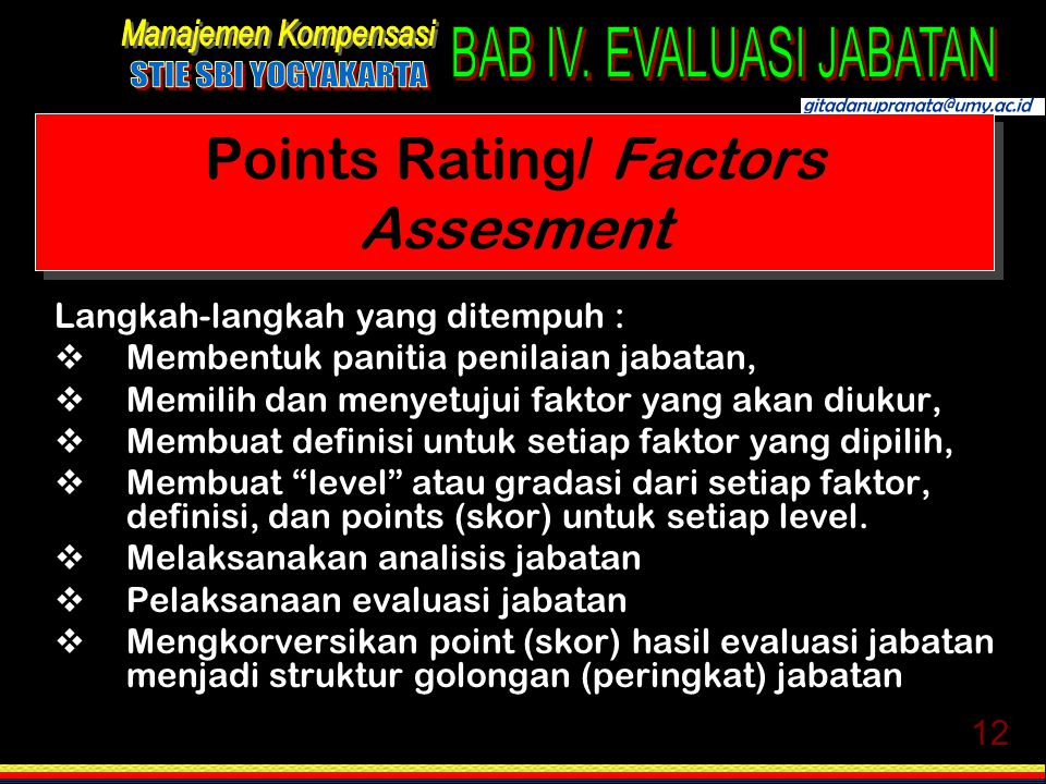 Points Rating/ Factors Assesment