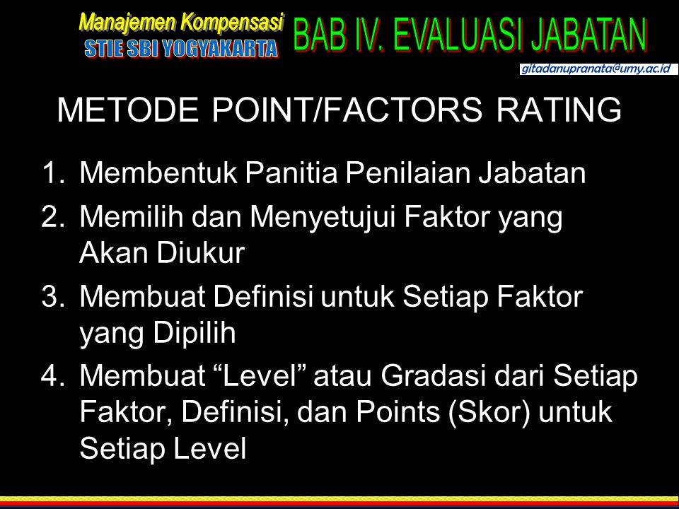 METODE POINT/FACTORS RATING
