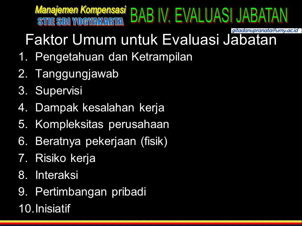 Faktor Umum untuk Evaluasi Jabatan