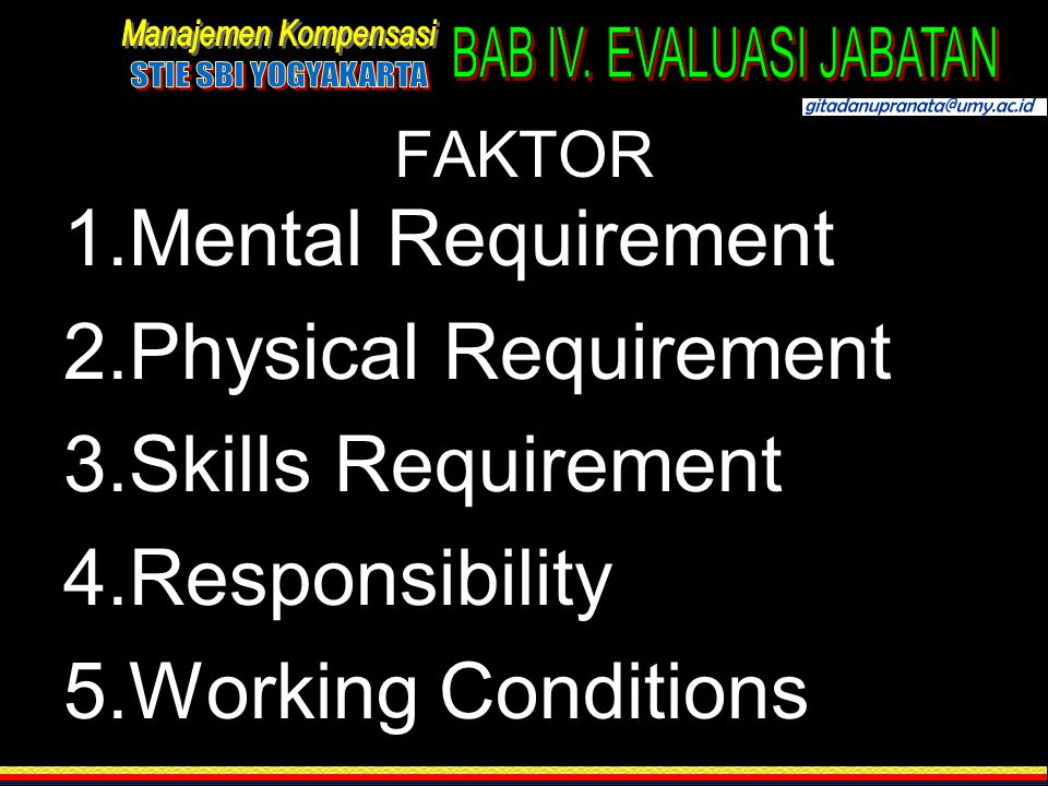 Mental Requirement Physical Requirement Skills Requirement