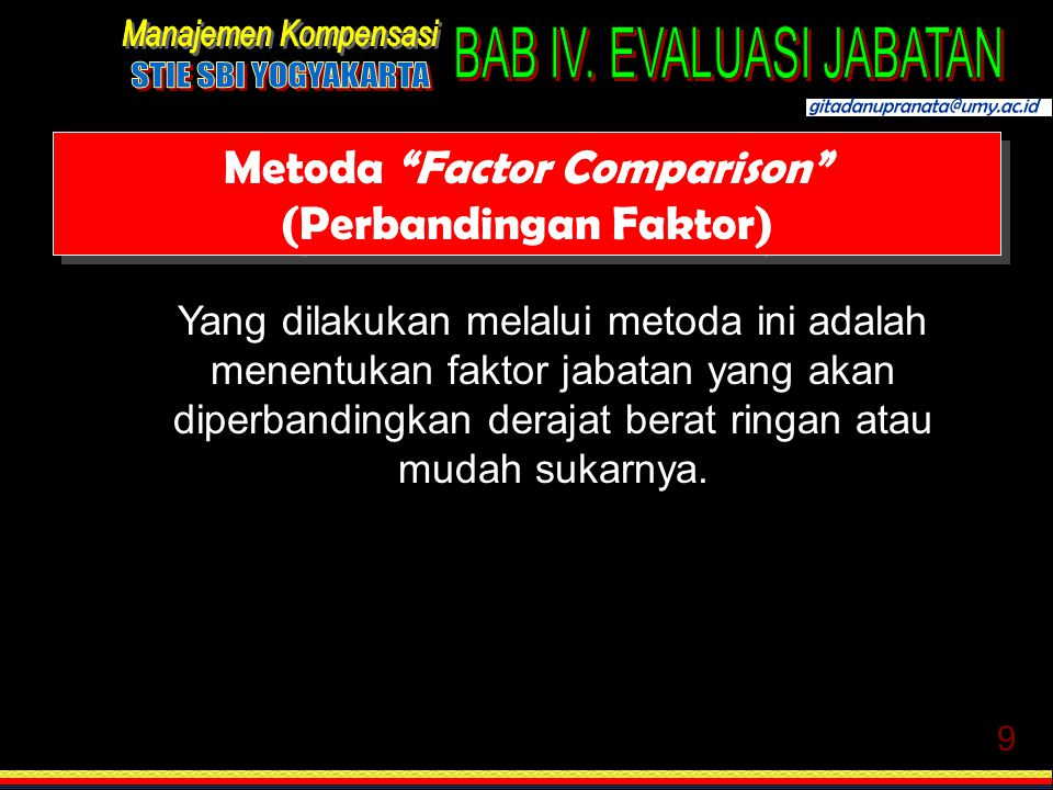 Metoda Factor Comparison (Perbandingan Faktor)