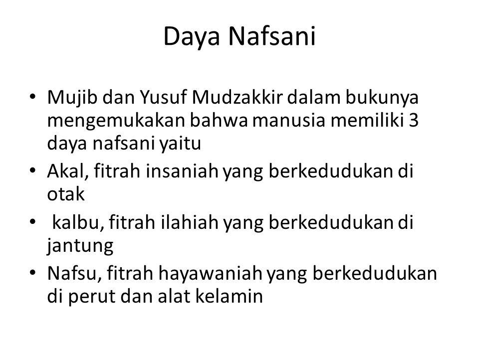 Daya Nafsani Mujib dan Yusuf Mudzakkir dalam bukunya mengemukakan bahwa manusia memiliki 3 daya nafsani yaitu.