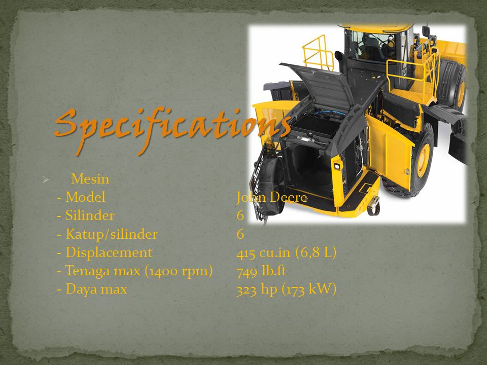 Specifications Mesin - Model John Deere - Silinder 6