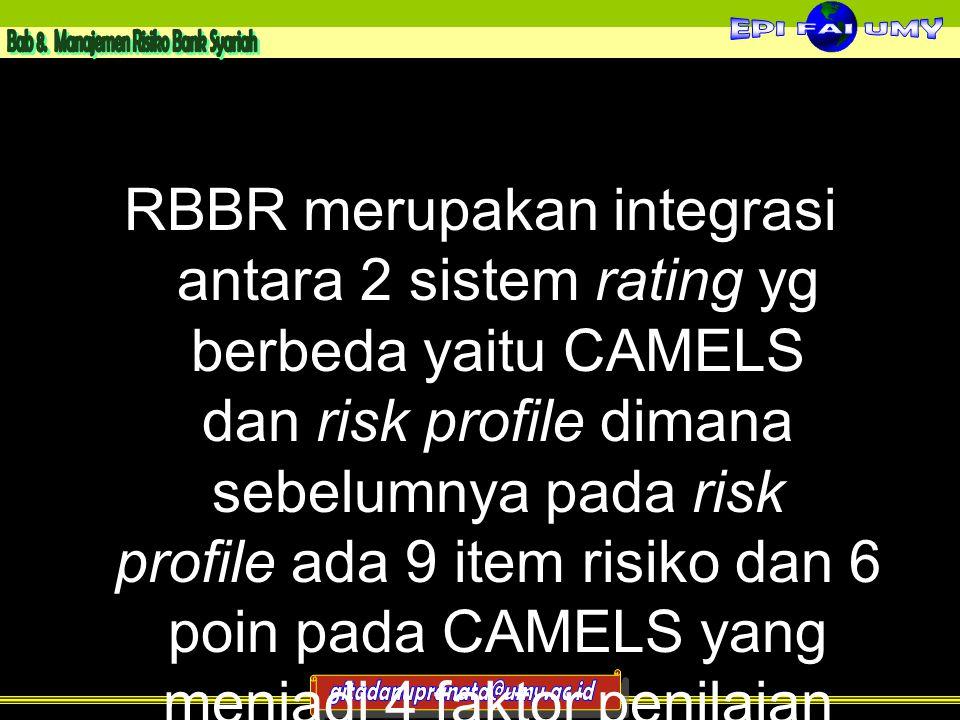 RBBR merupakan integrasi antara 2 sistem rating yg berbeda yaitu CAMELS dan risk profile dimana sebelumnya pada risk profile ada 9 item risiko dan 6 poin pada CAMELS yang menjadi 4 faktor penilaian RBBR menjadi single rating system