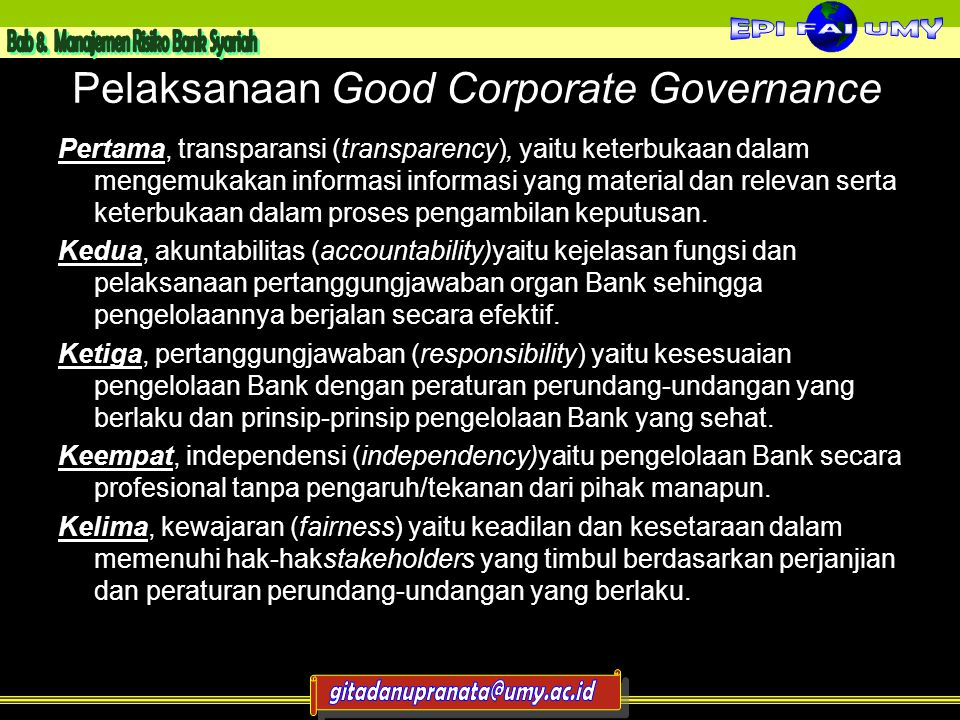 Pelaksanaan Good Corporate Governance