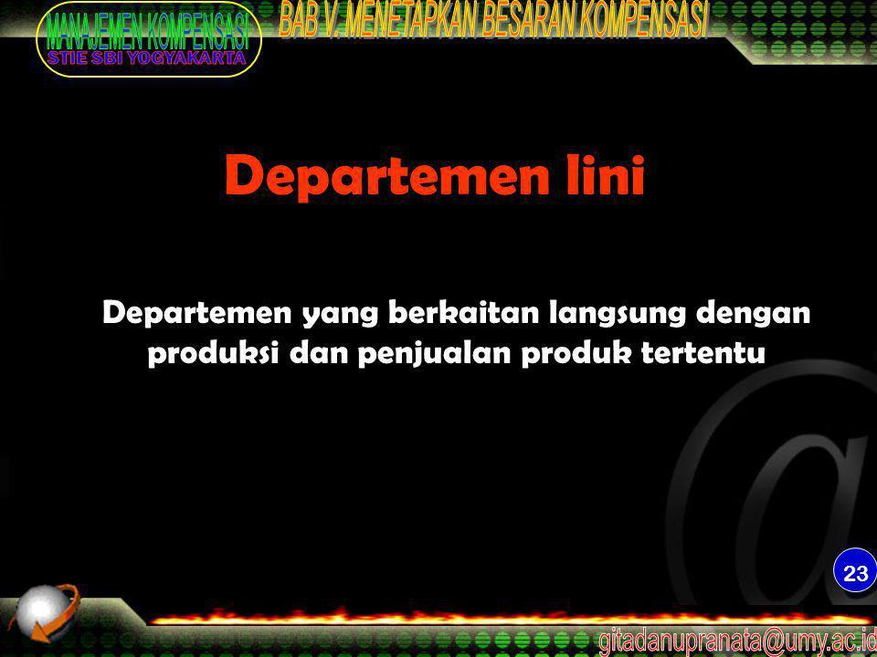 Departemen lini Departemen yang berkaitan langsung dengan produksi dan penjualan produk tertentu