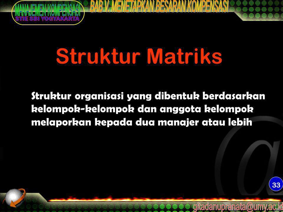 Struktur Matriks Struktur organisasi yang dibentuk berdasarkan kelompok-kelompok dan anggota kelompok melaporkan kepada dua manajer atau lebih.