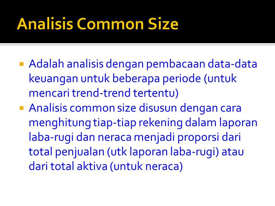 Analisis Common Size Adalah analisis dengan pembacaan data-data keuangan untuk beberapa periode (untuk mencari trend-trend tertentu)