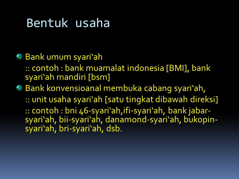 Bentuk usaha Bank umum syari'ah