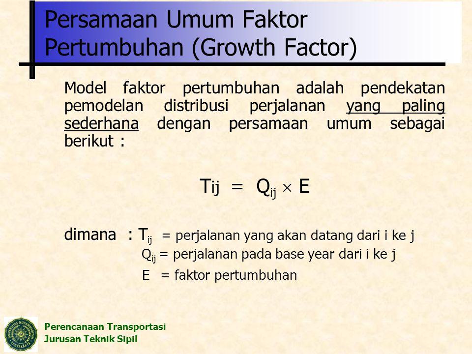 Persamaan Umum Faktor Pertumbuhan (Growth Factor)