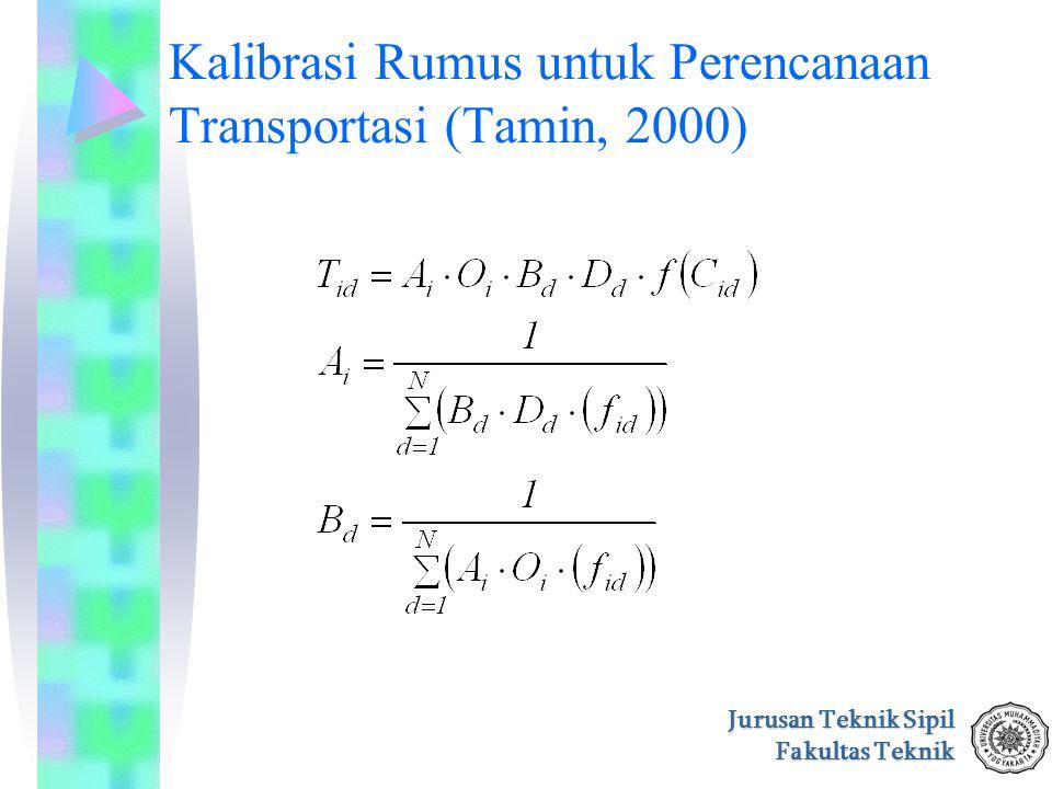 Kalibrasi Rumus untuk Perencanaan Transportasi (Tamin, 2000)