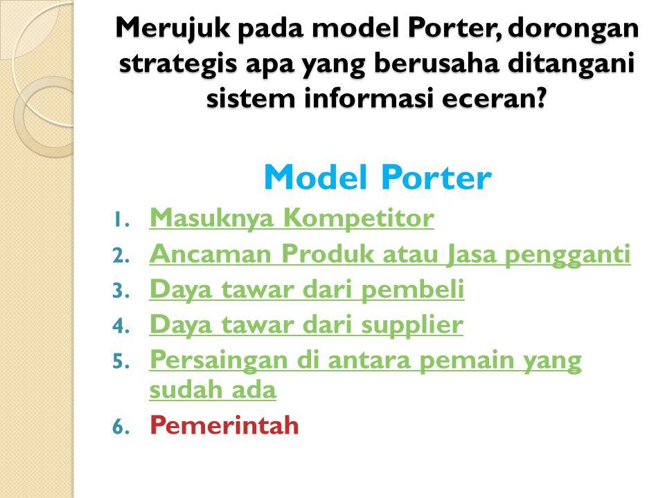 Merujuk pada model Porter, dorongan strategis apa yang berusaha ditangani sistem informasi eceran
