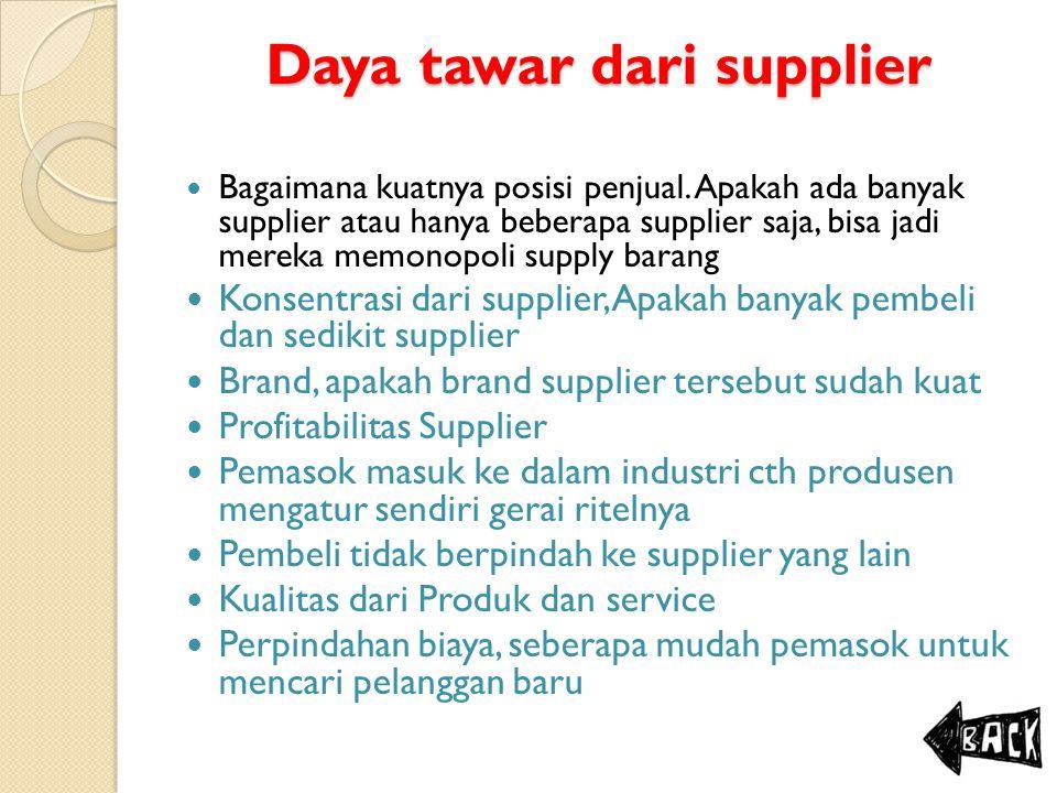 Daya tawar dari supplier