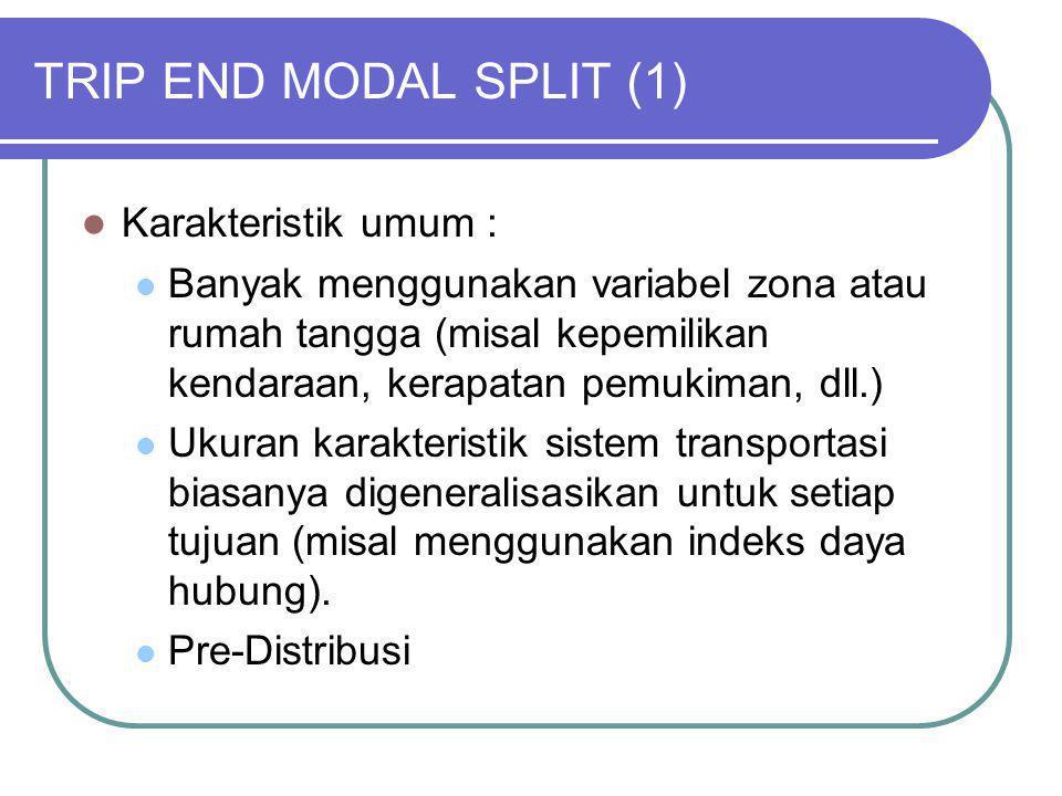 TRIP END MODAL SPLIT (1) Karakteristik umum :