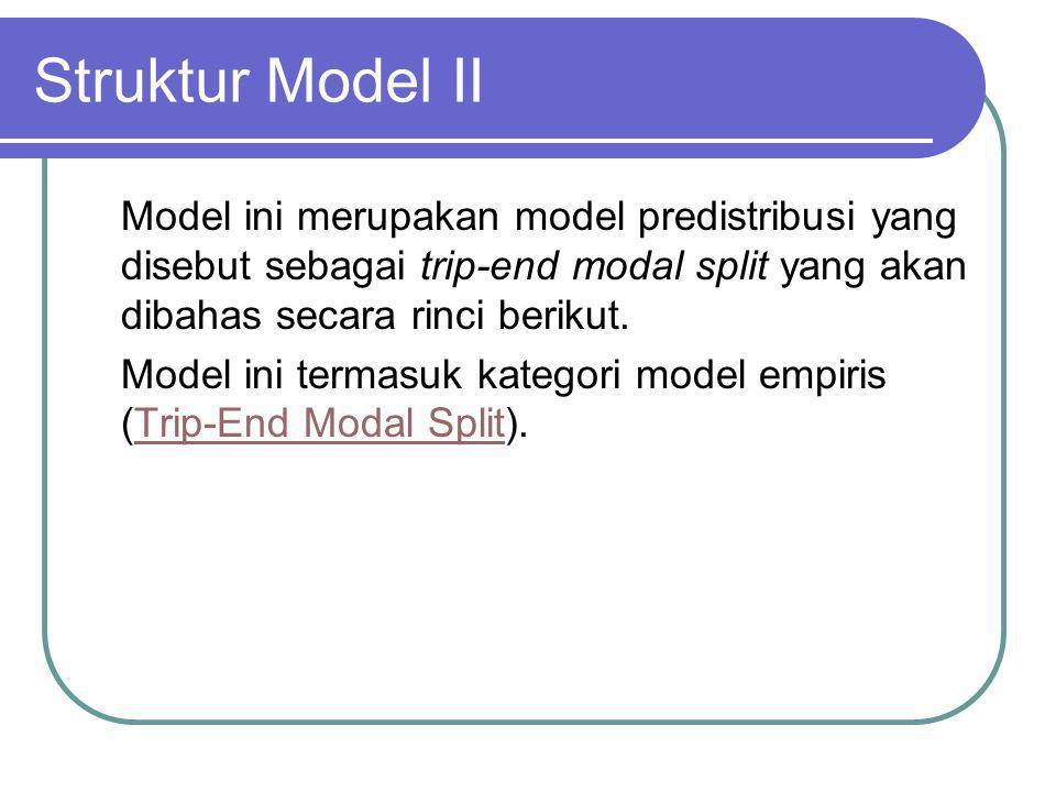 Struktur Model II Model ini merupakan model predistribusi yang disebut sebagai trip-end modal split yang akan dibahas secara rinci berikut.