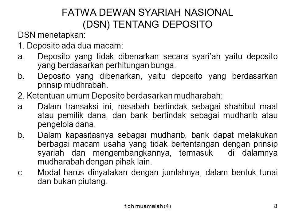 FATWA DEWAN SYARIAH NASIONAL (DSN) TENTANG DEPOSITO