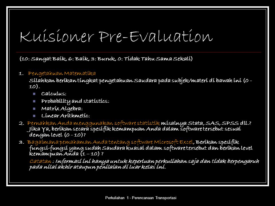 Kuisioner Pre-Evaluation