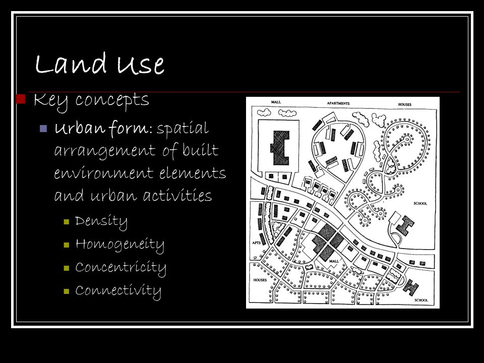 Land Use Key concepts. Urban form: spatial arrangement of built environment elements and urban activities.