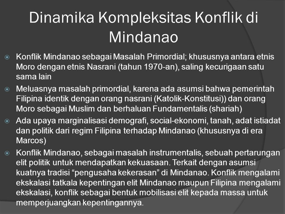 Dinamika Kompleksitas Konflik di Mindanao