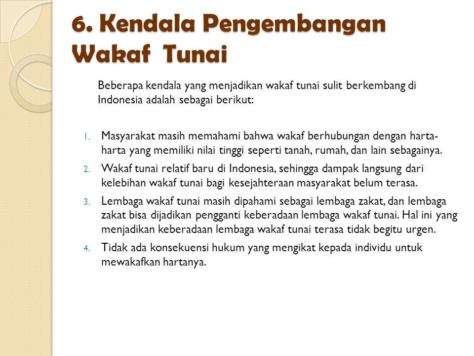 6. Kendala Pengembangan Wakaf Tunai
