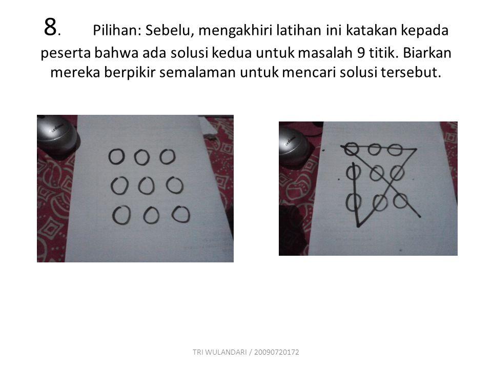 8. Pilihan: Sebelu, mengakhiri latihan ini katakan kepada peserta bahwa ada solusi kedua untuk masalah 9 titik. Biarkan mereka berpikir semalaman untuk mencari solusi tersebut.