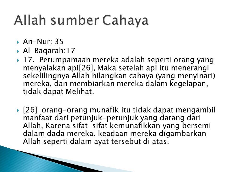 Allah sumber Cahaya An-Nur: 35 Al-Baqarah:17