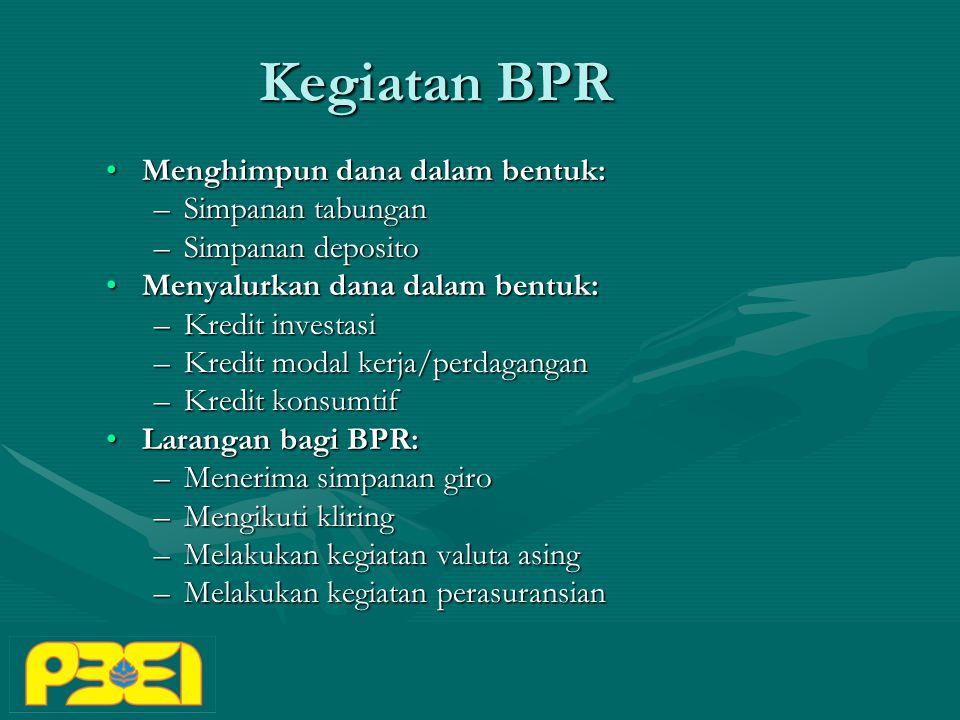 Kegiatan BPR Menghimpun dana dalam bentuk: Simpanan tabungan