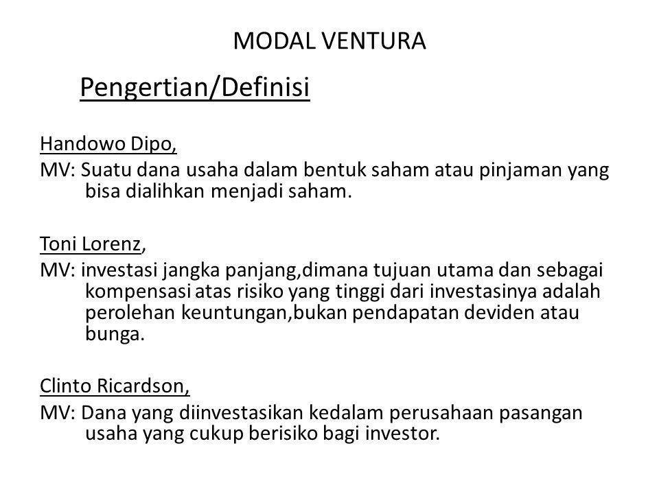 Pengertian/Definisi MODAL VENTURA Handowo Dipo,