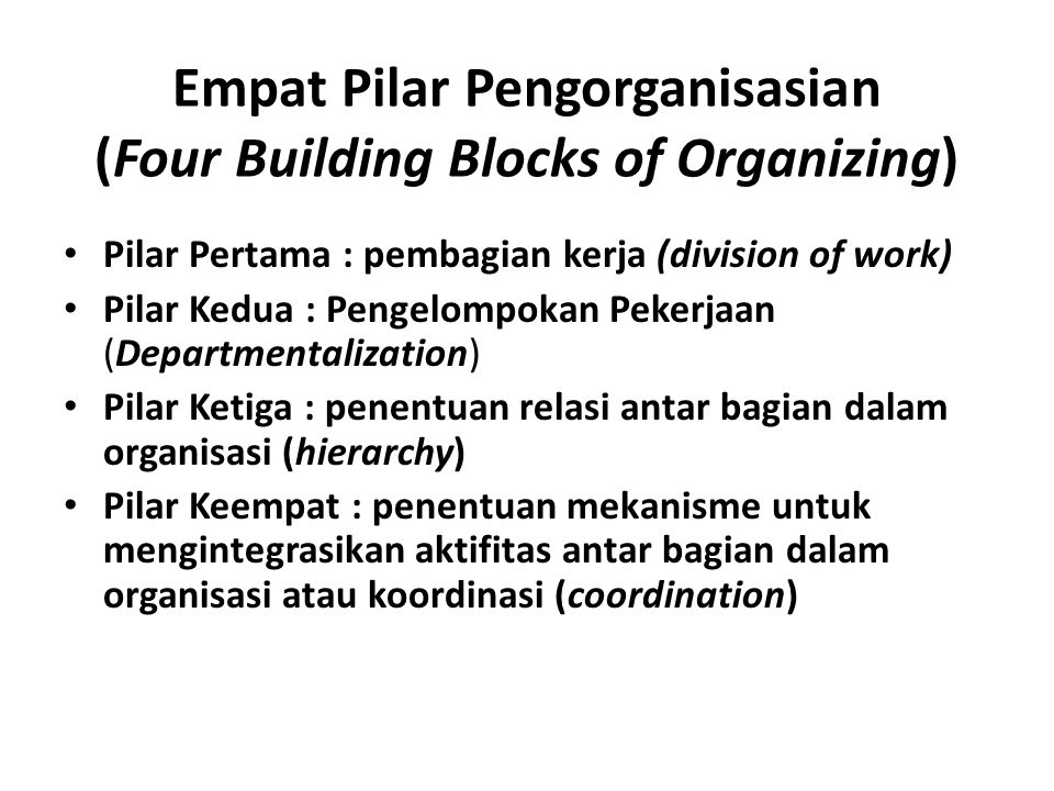 Empat Pilar Pengorganisasian (Four Building Blocks of Organizing)