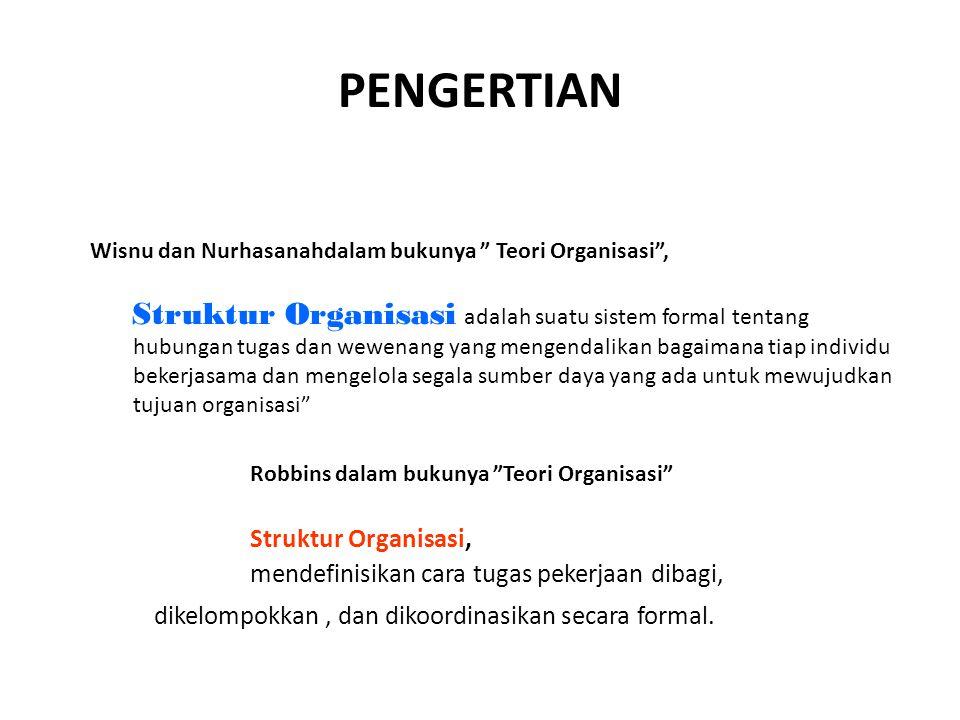 PENGERTIAN Robbins dalam bukunya Teori Organisasi Struktur Organisasi,