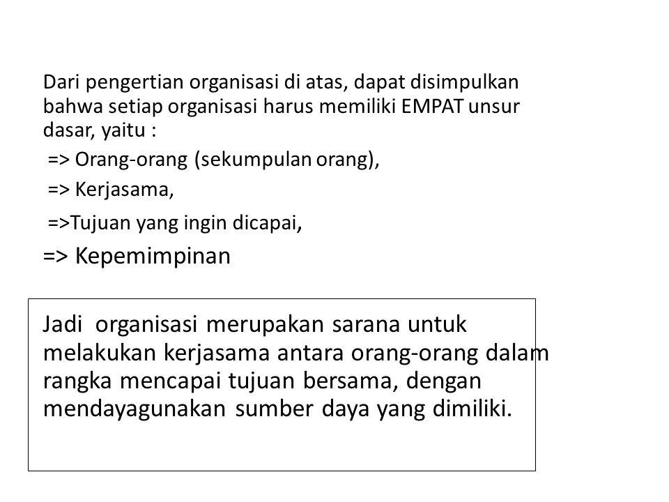 Dari pengertian organisasi di atas, dapat disimpulkan bahwa setiap organisasi harus memiliki EMPAT unsur dasar, yaitu :