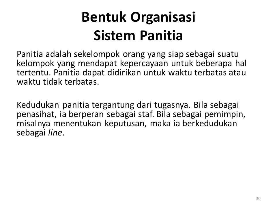 Bentuk Organisasi Sistem Panitia