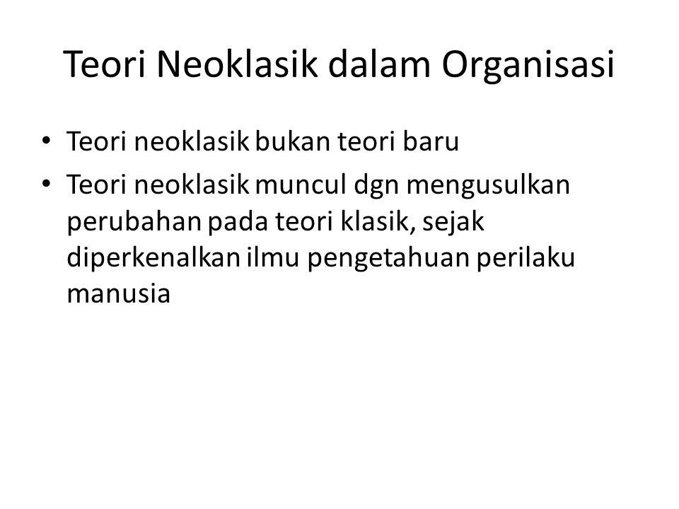 Teori Neoklasik dalam Organisasi