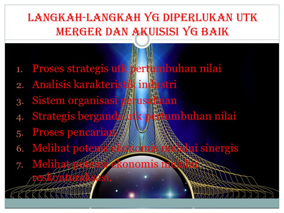 Langkah-langkah yg diperlukan utk Merger dan Akuisisi yg baik