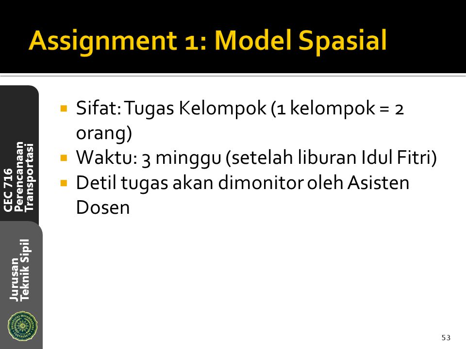 Assignment 1: Model Spasial