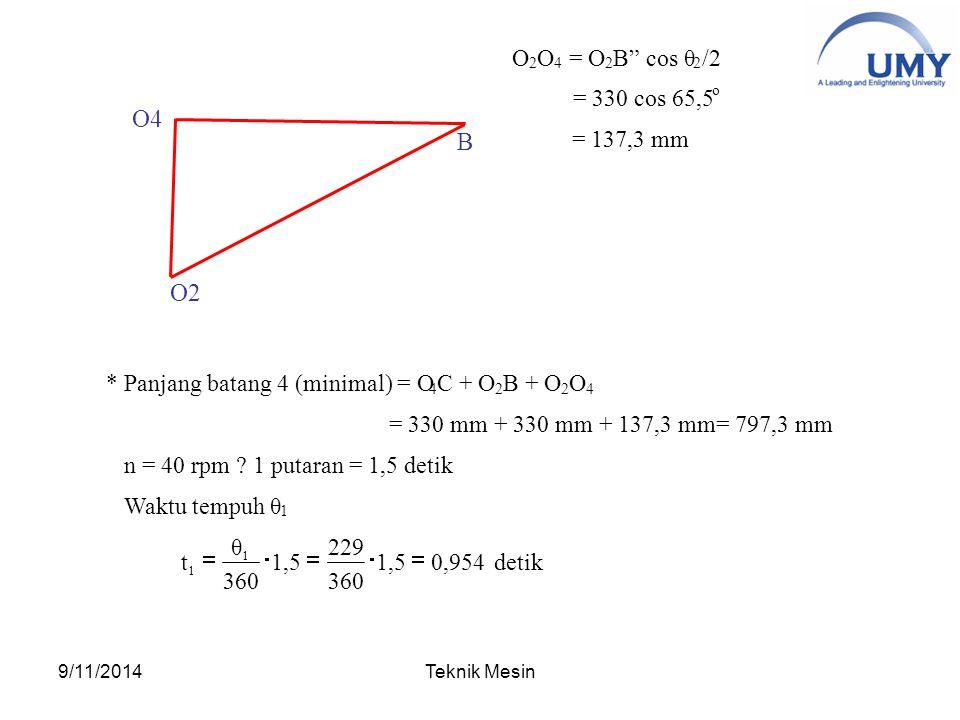 O4 B O2 O = O B cos θ /2 = 330 cos 65,5 = 137,3 mm