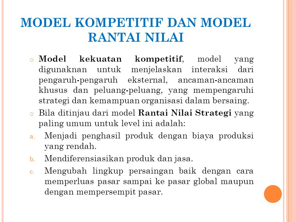 MODEL KOMPETITIF DAN MODEL RANTAI NILAI