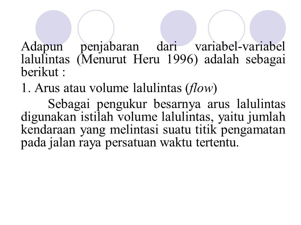 Adapun penjabaran dari variabel-variabel lalulintas (Menurut Heru 1996) adalah sebagai berikut :