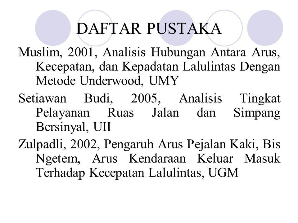 DAFTAR PUSTAKA Muslim, 2001, Analisis Hubungan Antara Arus, Kecepatan, dan Kepadatan Lalulintas Dengan Metode Underwood, UMY.