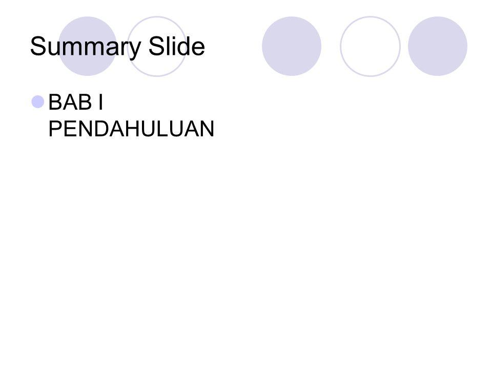 Summary Slide BAB I PENDAHULUAN
