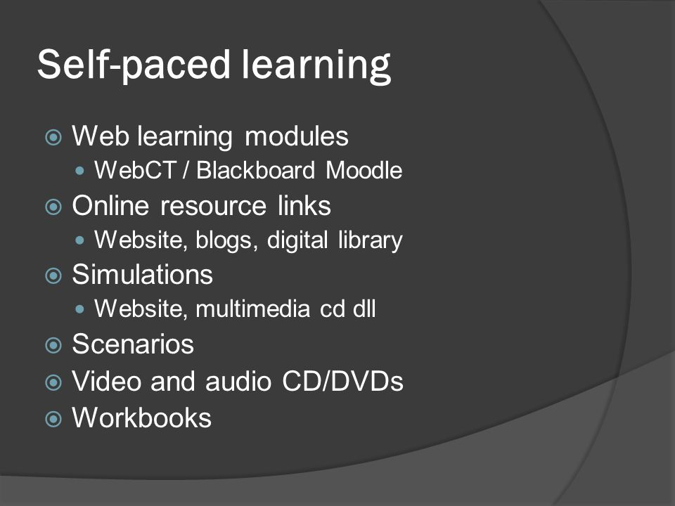 Self-paced learning Web learning modules Online resource links