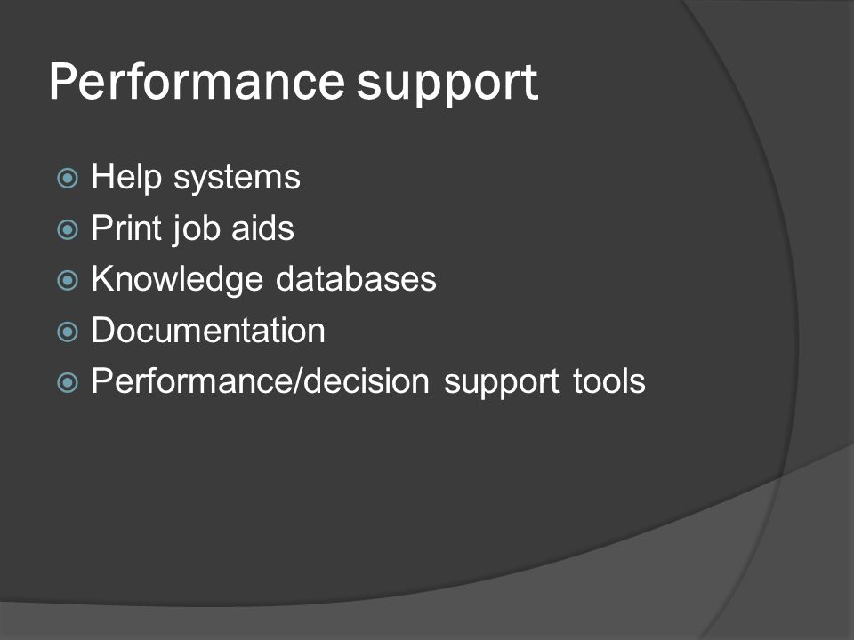 Performance support Help systems Print job aids Knowledge databases