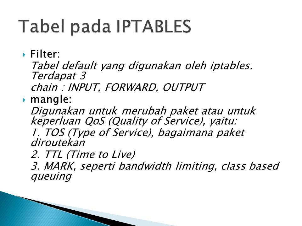 Tabel pada IPTABLES Filter: