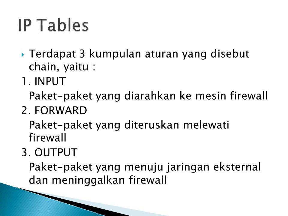 IP Tables Terdapat 3 kumpulan aturan yang disebut chain, yaitu :