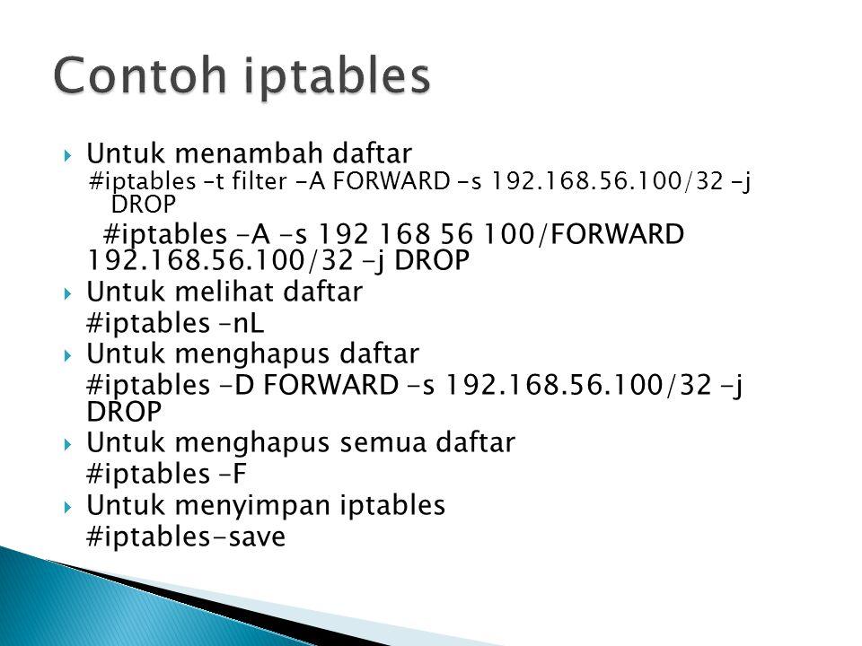 Contoh iptables Untuk menambah daftar